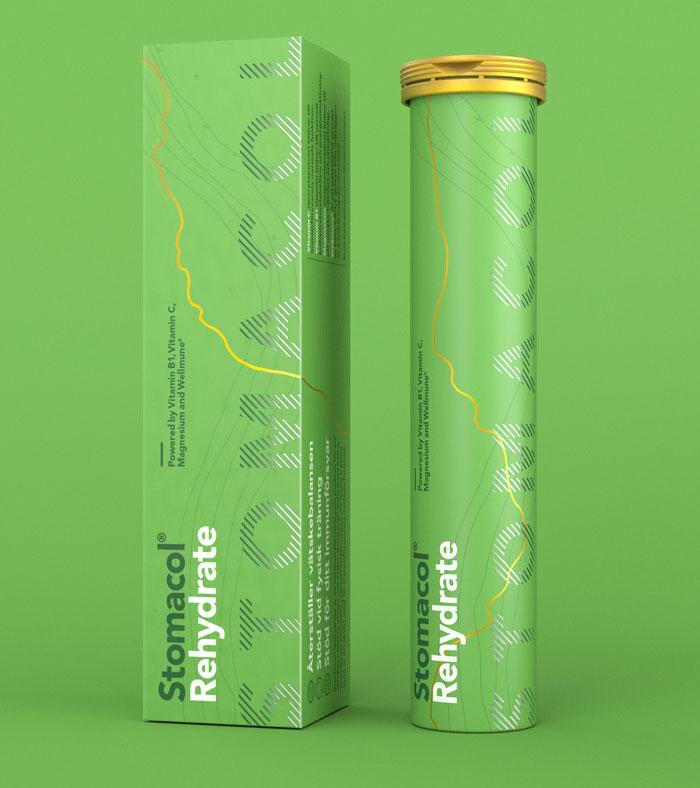 Stomacol Rehydrate grön förpackning på vätskeersättning