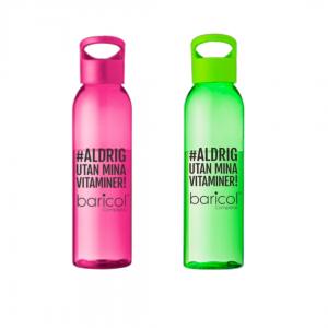 Vattenflaska rosa och grön aldrig utan mina vitaminer