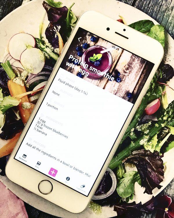 BariBuddy app I iPhone med bild på protein smoothie med ägg