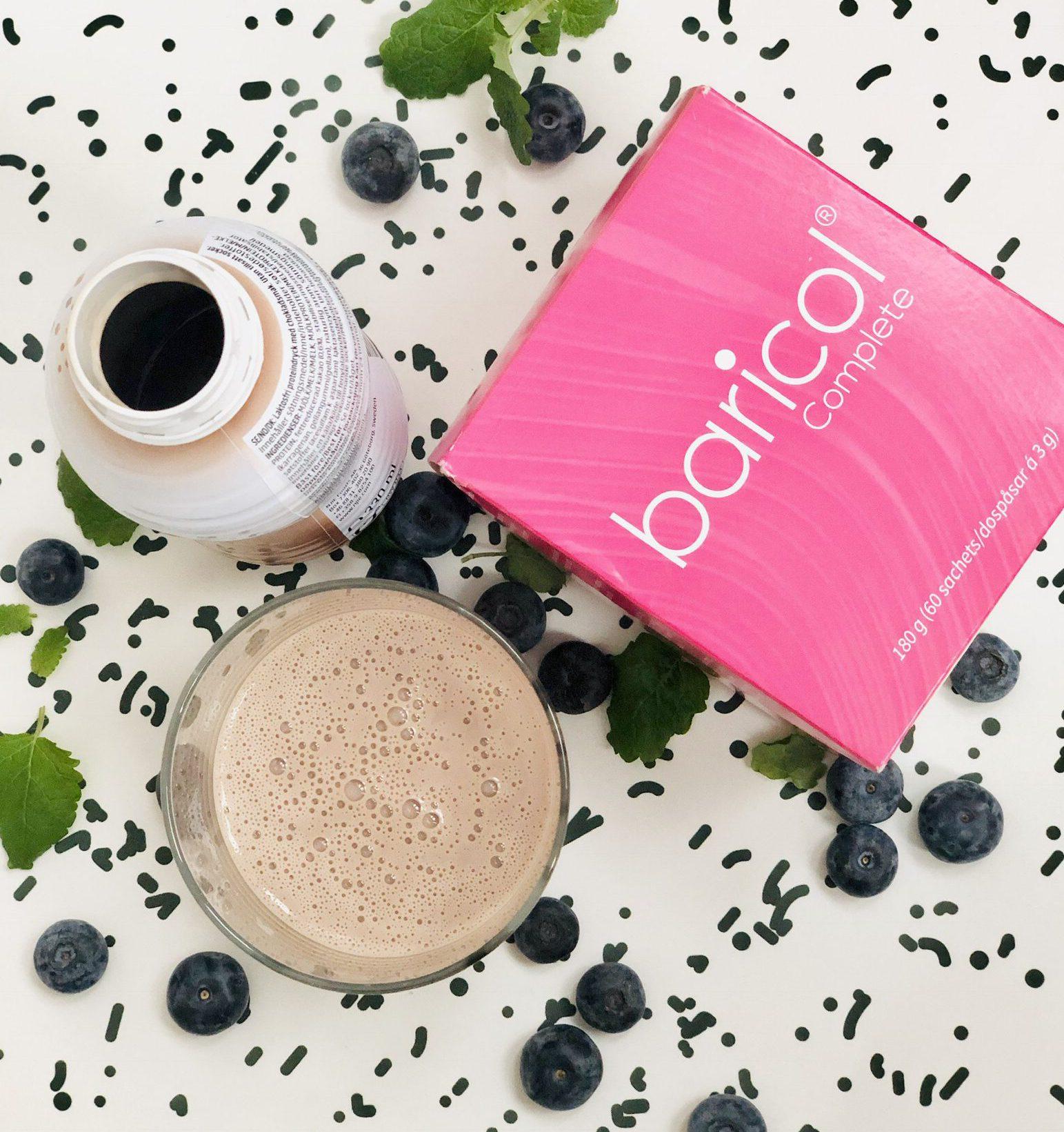 Baricol Complete pulver ask, proteinshakeflaska glas med shake i