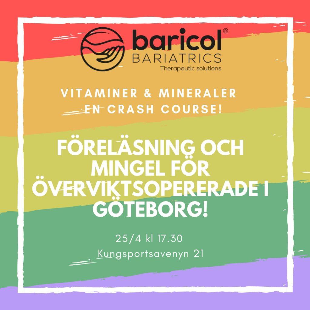 regnbågsfärgad bild med info om baricols event för viktopererade i Göteboirg