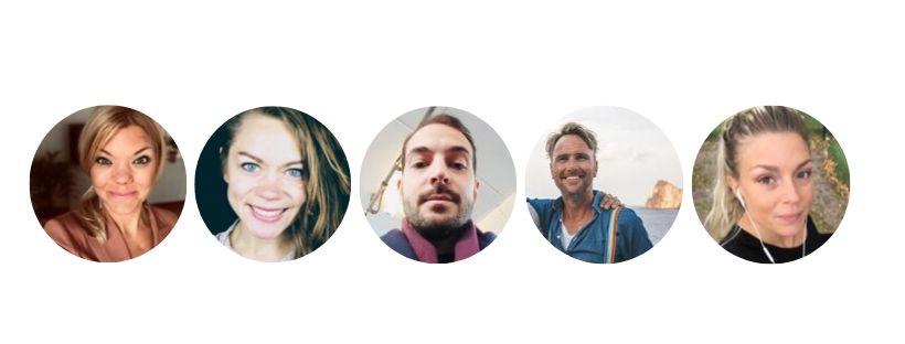 profilbider i cirklar på anställda på baricol tre kvinnor och två män